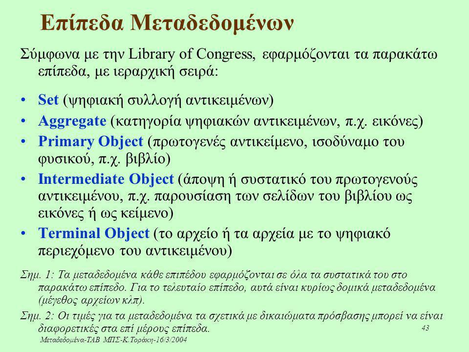 Μεταδεδομένα-ΤΑΒ ΜΠΣ-Κ.Τοράκη-16/3/2004 43 Επίπεδα Μεταδεδομένων Σύμφωνα με την Library of Congress, εφαρμόζονται τα παρακάτω επίπεδα, με ιεραρχική σε