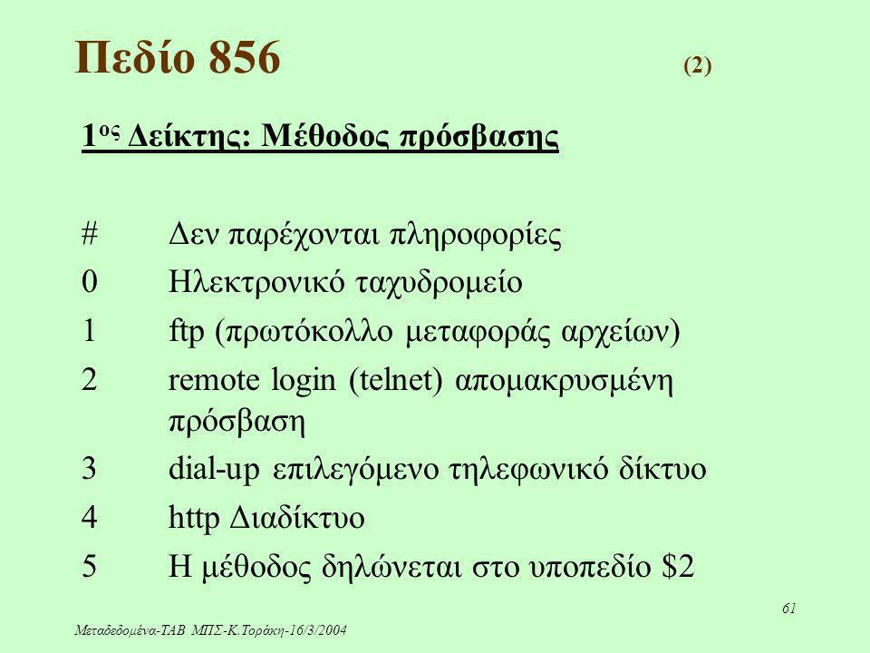 Μεταδεδομένα-ΤΑΒ ΜΠΣ-Κ.Τοράκη-16/3/2004 61 Πεδίο 856 (2) 1 ος Δείκτης: Μέθοδος πρόσβασης #Δεν παρέχονται πληροφορίες 0Ηλεκτρονικό ταχυδρομείο 1ftp (πρ