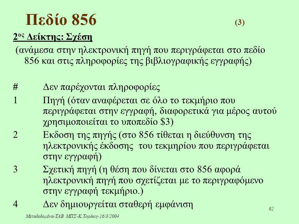 Μεταδεδομένα-ΤΑΒ ΜΠΣ-Κ.Τοράκη-16/3/2004 62 Πεδίο 856 (3) 2 ος Δείκτης: Σχέση (ανάμεσα στην ηλεκτρονική πηγή που περιγράφεται στο πεδίο 856 και στις πλ