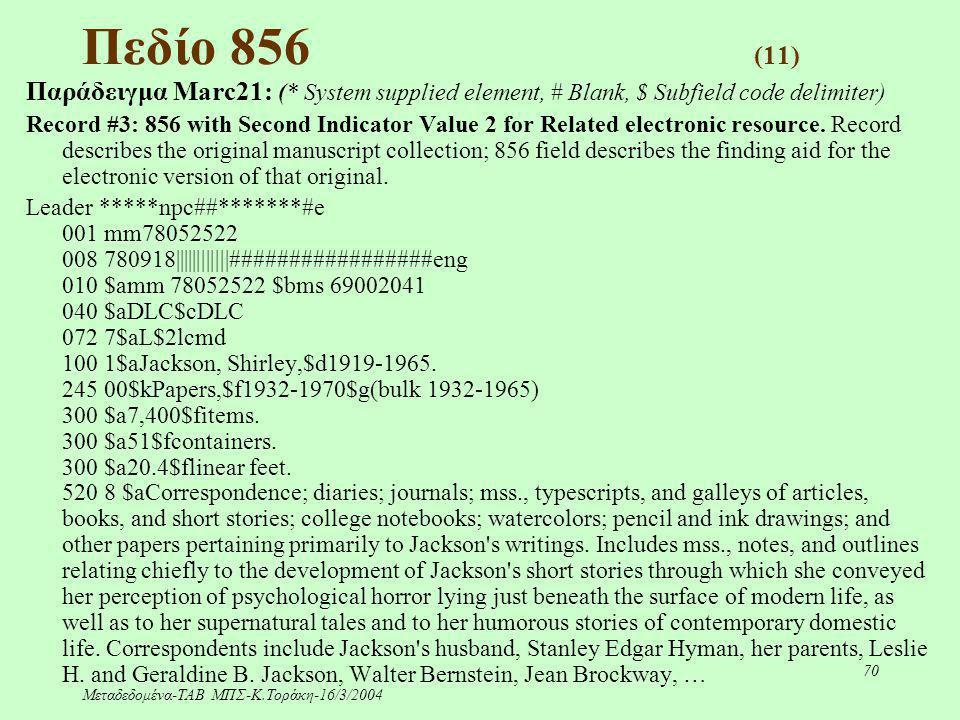 Μεταδεδομένα-ΤΑΒ ΜΠΣ-Κ.Τοράκη-16/3/2004 70 Πεδίο 856 (11) Παράδειγμα Marc21: (* System supplied element, # Blank, $ Subfield code delimiter) Record #3