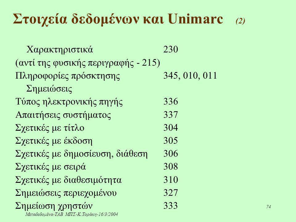Μεταδεδομένα-ΤΑΒ ΜΠΣ-Κ.Τοράκη-16/3/2004 74 Χαρακτηριστικά 230 (αντί της φυσικής περιγραφής - 215) Πληροφορίες πρόσκτησης345, 010, 011 Σημειώσεις Τύπος