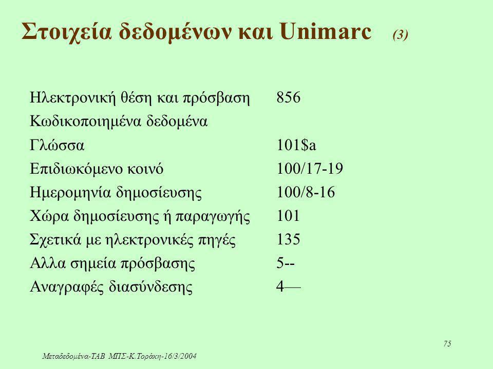 Μεταδεδομένα-ΤΑΒ ΜΠΣ-Κ.Τοράκη-16/3/2004 75 Ηλεκτρονική θέση και πρόσβαση856 Κωδικοποιημένα δεδομένα Γλώσσα 101$a Επιδιωκόμενο κοινό100/17-19 Ημερομηνί
