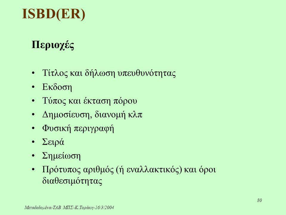 Μεταδεδομένα-ΤΑΒ ΜΠΣ-Κ.Τοράκη-16/3/2004 80 ISBD(ER) Περιοχές Τίτλος και δήλωση υπευθυνότητας Εκδοση Τύπος και έκταση πόρου Δημοσίευση, διανομή κλπ Φυσ