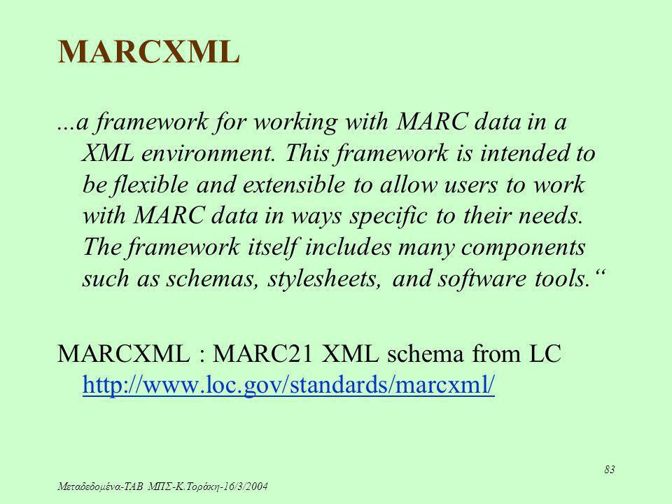 Μεταδεδομένα-ΤΑΒ ΜΠΣ-Κ.Τοράκη-16/3/2004 83 MARCXML...a framework for working with MARC data in a XML environment. This framework is intended to be fle