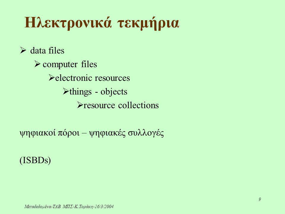 Μεταδεδομένα-ΤΑΒ ΜΠΣ-Κ.Τοράκη-16/3/2004 9 Ηλεκτρονικά τεκμήρια  data files  computer files  electronic resources  things - objects  resource coll