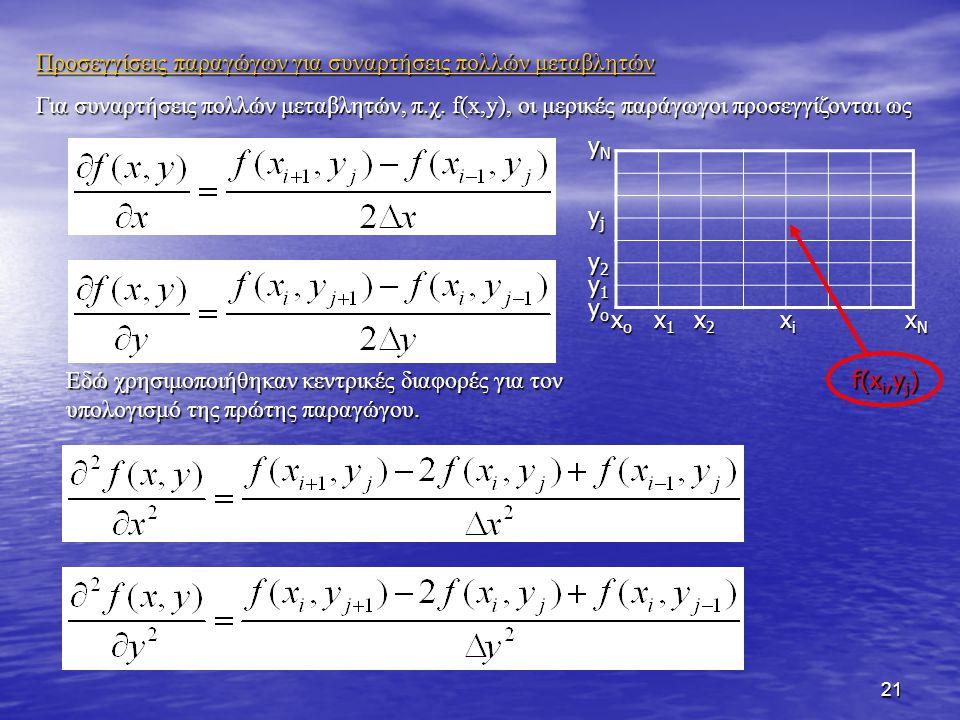21 Προσεγγίσεις παραγώγων για συναρτήσεις πολλών μεταβλητών Για συναρτήσεις πολλών μεταβλητών, π.χ. f(x,y), οι μερικές παράγωγοι προσεγγίζονται ως f(x