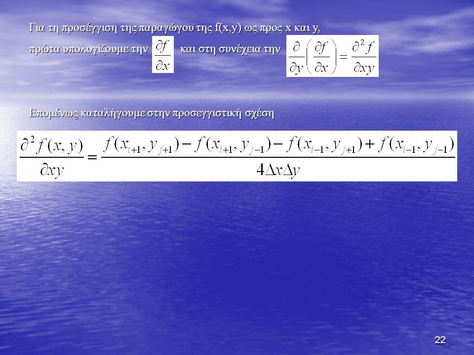 22 Για τη προσέγγιση της παραγώγου της f(x,y) ως προς x και y, πρώτα υπολογίζουμε την και στη συνέχεια την Επομένως καταλήγουμε στην προσεγγιστική σχέ