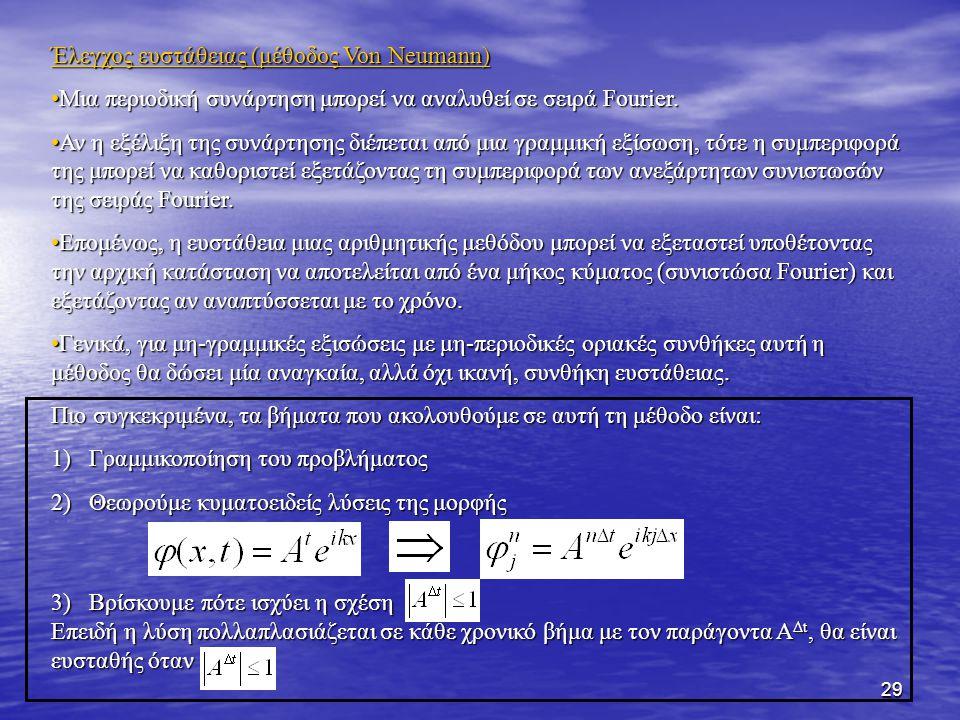 29 Έλεγχος ευστάθειας (μέθοδος Von Neumann) Μια περιοδική συνάρτηση μπορεί να αναλυθεί σε σειρά Fourier.Μια περιοδική συνάρτηση μπορεί να αναλυθεί σε