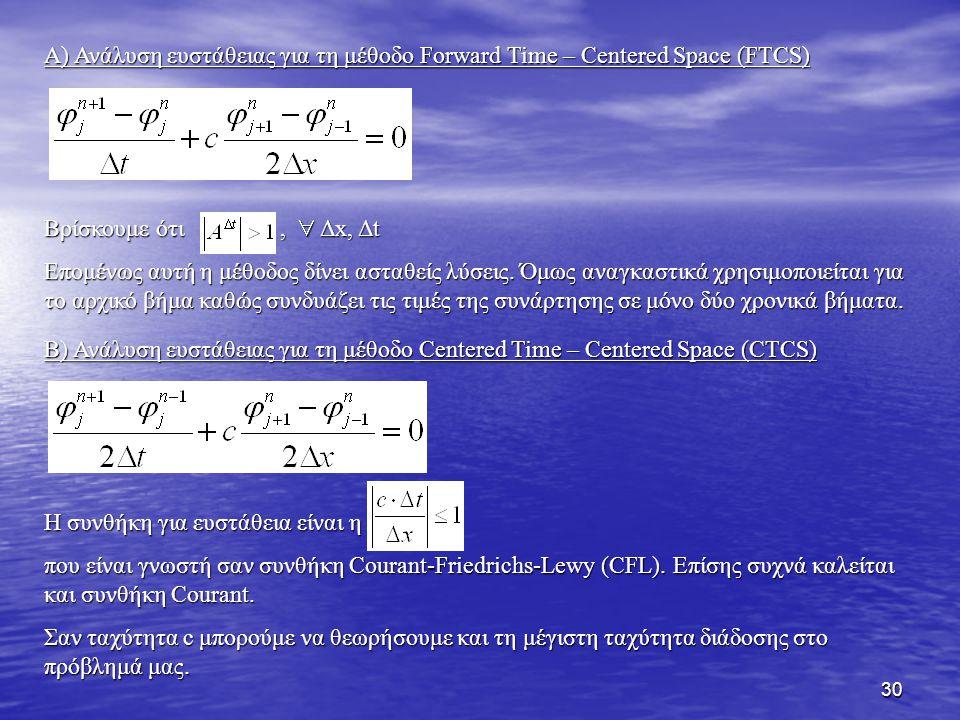 30 Α) Ανάλυση ευστάθειας για τη μέθοδο Forward Time – Centered Space (FTCS) Βρίσκουμε ότι,  Δx, Δt Επομένως αυτή η μέθοδος δίνει ασταθείς λύσεις. Όμω