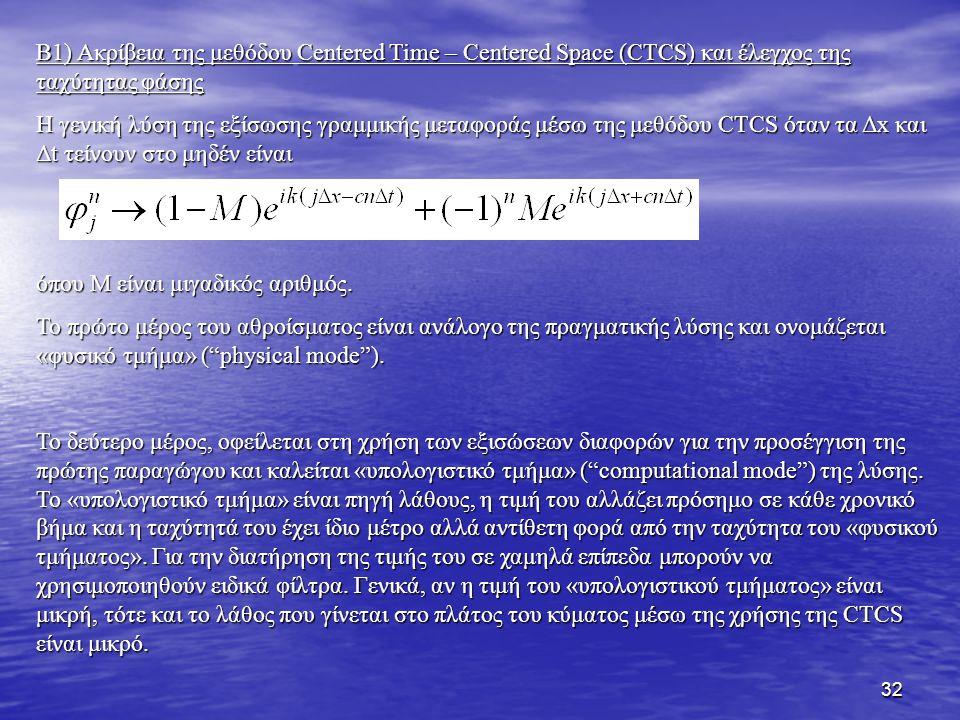 32 B1) Ακρίβεια της μεθόδουCentered Time – Centered Space (CTCS) και έλεγχος της ταχύτητας φάσης B1) Ακρίβεια της μεθόδου Centered Time – Centered Spa