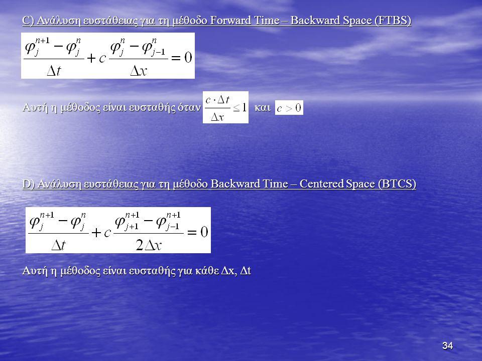 34 C) Ανάλυση ευστάθειας για τη μέθοδο Forward Time – Backward Space (FTBS) Αυτή η μέθοδος είναι ευσταθής όταν και D) Ανάλυση ευστάθειας για τη μέθοδο