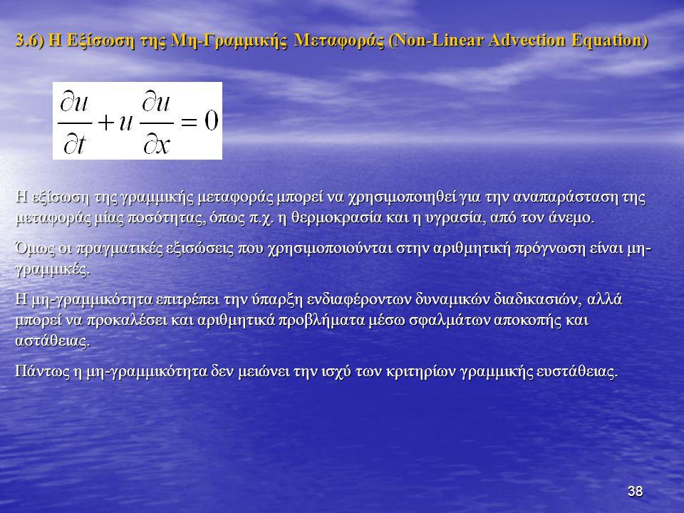 38 3.6) Η Εξίσωση της Μη-Γραμμικής Μεταφοράς (Non-Linear Advection Equation) Η εξίσωση της γραμμικής μεταφοράς μπορεί να χρησιμοποιηθεί για την αναπαρ