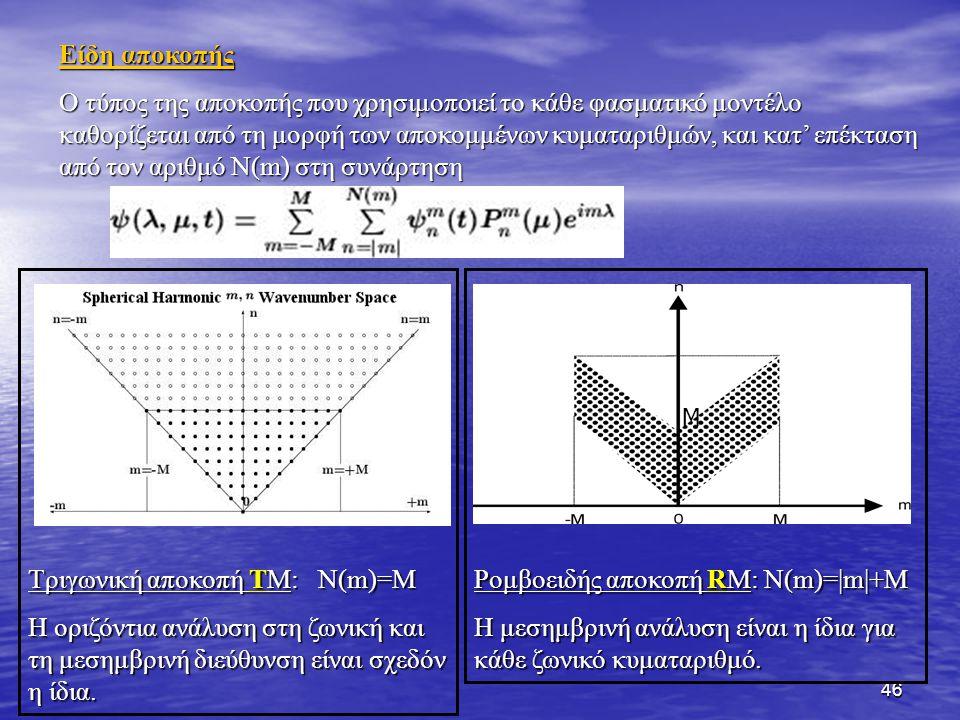 46 Τριγωνική αποκοπή ΤΜ: N(m)=M Η οριζόντια ανάλυση στη ζωνική και τη μεσημβρινή διεύθυνση είναι σχεδόν η ίδια. Είδη αποκοπής Ο τύπος της αποκοπής που