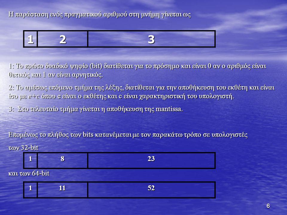 6 Η παράσταση ενός πραγματικού αριθμού στη μνήμη γίνεται ως 1: Το πρώτο δυαδικό ψηφίο (bit) διατίθεται για το πρόσημο και είναι 0 αν ο αριθμός είναι θ