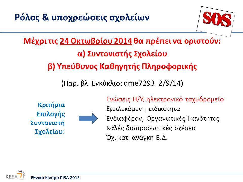 Ρόλος & υποχρεώσεις σχολείων Μέχρι τις 24 Οκτωβρίου 2014 θα πρέπει να οριστούν: α) Συντονιστής Σχολείου β) Υπεύθυνος Καθηγητής Πληροφορικής (Παρ.