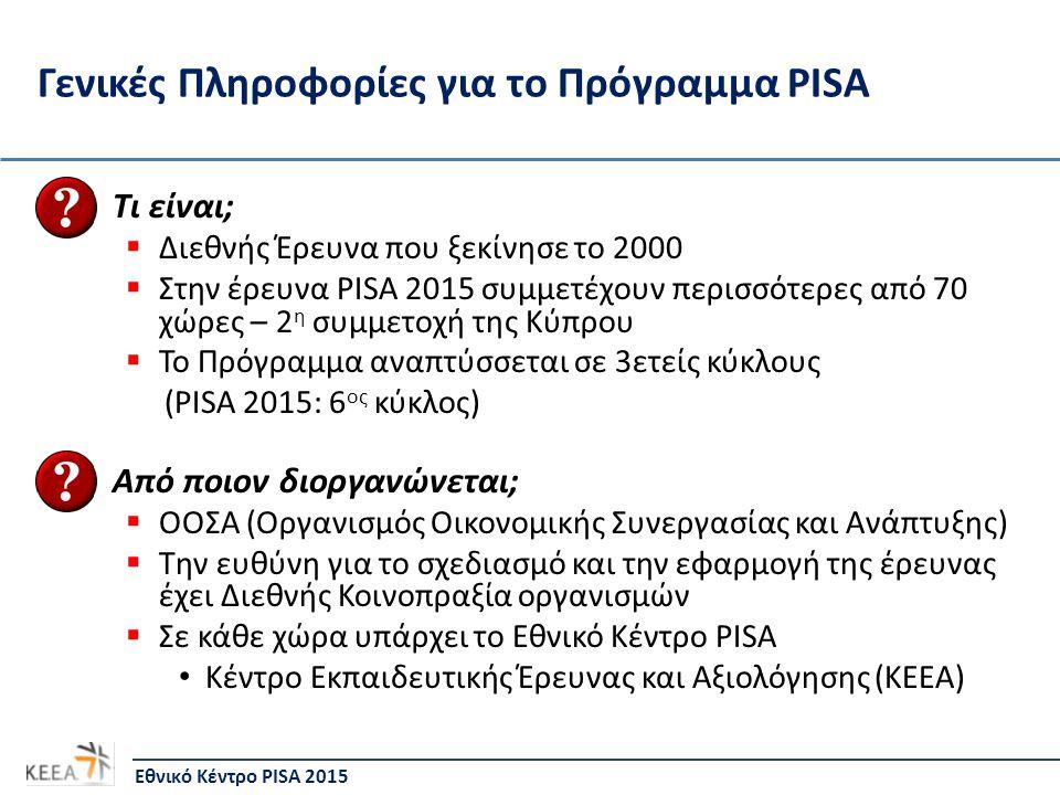 Γενικές Πληροφορίες για το Πρόγραμμα PISA Τι είναι;  Διεθνής Έρευνα που ξεκίνησε το 2000  Στην έρευνα PISA 2015 συμμετέχουν περισσότερες από 70 χώρες – 2 η συμμετοχή της Κύπρου  Το Πρόγραμμα αναπτύσσεται σε 3ετείς κύκλους (PISA 2015: 6 ος κύκλος) Από ποιον διοργανώνεται;  ΟΟΣΑ (Οργανισμός Οικονομικής Συνεργασίας και Ανάπτυξης)  Την ευθύνη για το σχεδιασμό και την εφαρμογή της έρευνας έχει Διεθνής Κοινοπραξία οργανισμών  Σε κάθε χώρα υπάρχει το Εθνικό Κέντρο PISA Κέντρο Εκπαιδευτικής Έρευνας και Αξιολόγησης (ΚΕΕΑ) Εθνικό Κέντρο PISA 2015