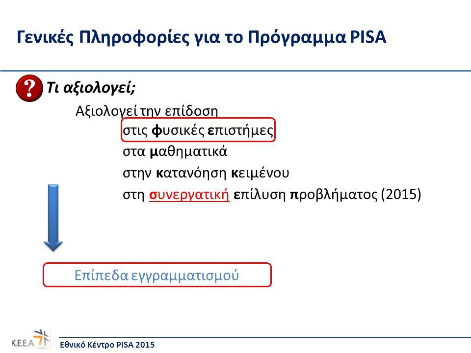 Γενικές Πληροφορίες για το Πρόγραμμα PISA Τι αξιολογεί; Αξιολογεί την επίδοση στις φυσικές επιστήμες στα μαθηματικά στην κατανόηση κειμένου στη συνεργατική επίλυση προβλήματος (2015) Εθνικό Κέντρο PISA 2015 Επίπεδα εγγραμματισμού