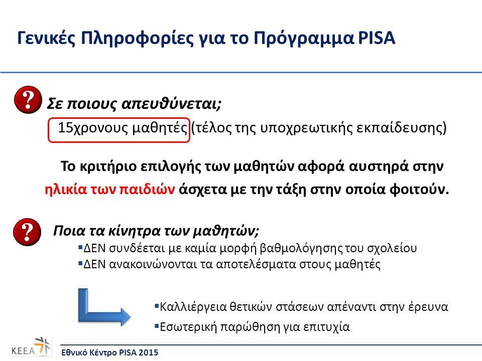 Γενικές Πληροφορίες για το Πρόγραμμα PISA Σε ποιους απευθύνεται; 15χρονους μαθητές (τέλος της υποχρεωτικής εκπαίδευσης) Το κριτήριο επιλογής των μαθητ