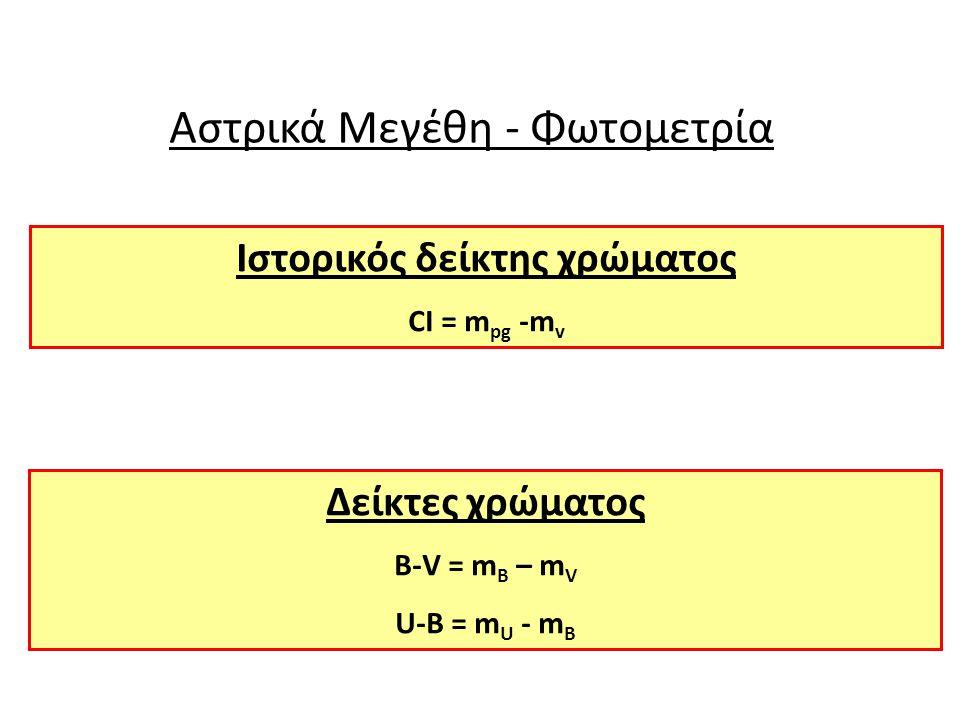 Αστρικά Μεγέθη - Φωτομετρία Ιστορικός δείκτης χρώματος CI = m pg -m v Δείκτες χρώματος B-V = m B – m V U-B = m U - m B