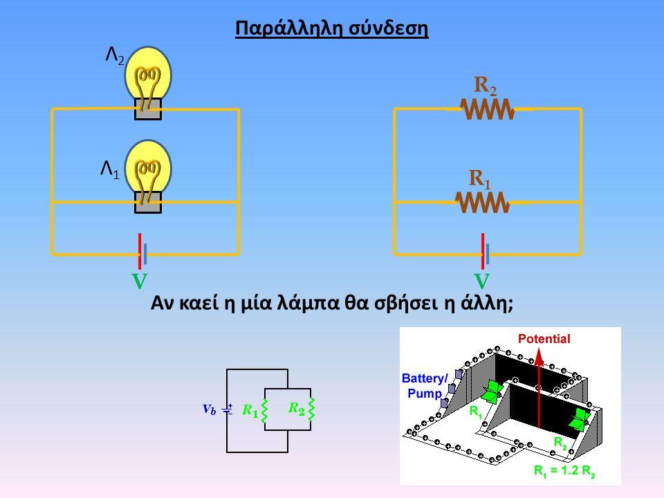 Παράλληλη σύνδεση Λ1Λ1 Λ2Λ2 R1R1 R2R2 VV Αν καεί η μία λάμπα θα σβήσει η άλλη;