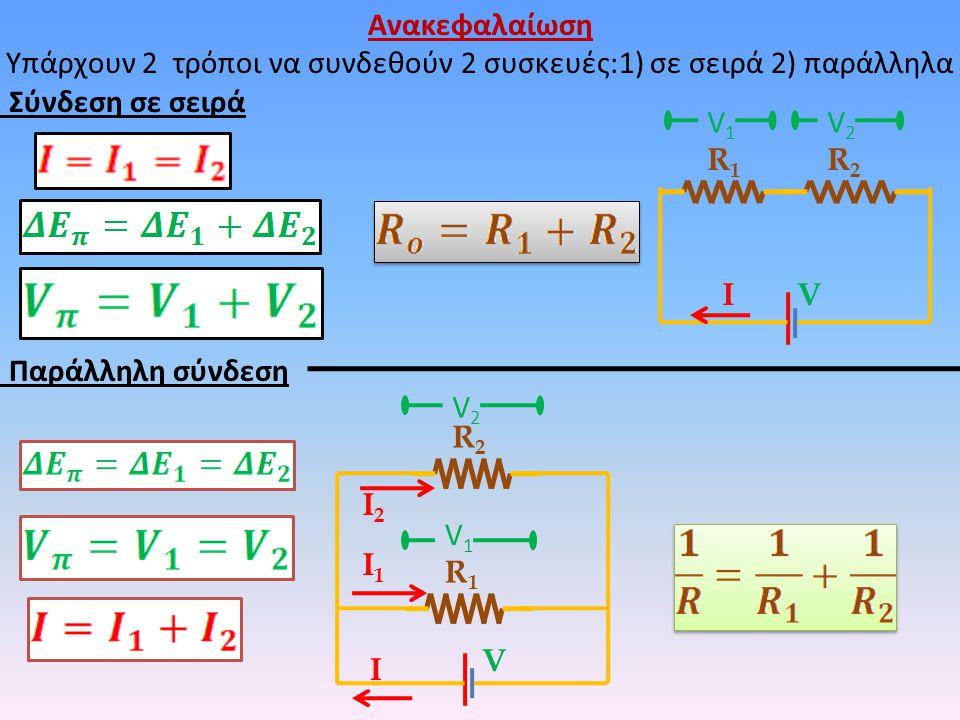 Ανακεφαλαίωση Υπάρχουν 2 τρόποι να συνδεθούν 2 συσκευές:1) σε σειρά 2) παράλληλα Σύνδεση σε σειρά Παράλληλη σύνδεση R1R1 R2R2 VΙ V2V2 V1V1 R1R1 R2R2 V