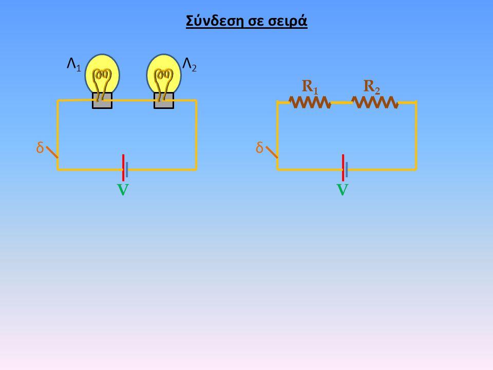 Σύνδεση σε σειρά δ Λ1Λ1 Λ2Λ2 δ R1R1 R2R2 VV