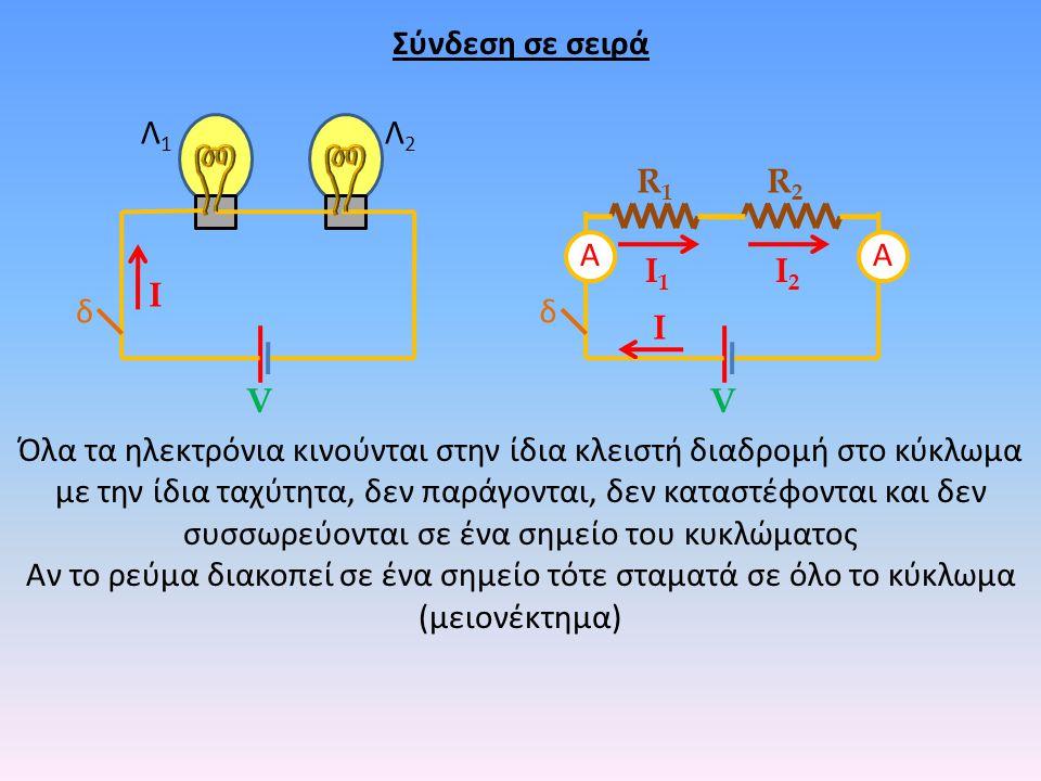 δ Λ1Λ1 Λ2Λ2 δ R1R1 R2R2 VV Όλα τα ηλεκτρόνια κινούνται στην ίδια κλειστή διαδρομή στο κύκλωμα με την ίδια ταχύτητα, δεν παράγονται, δεν καταστέφονται