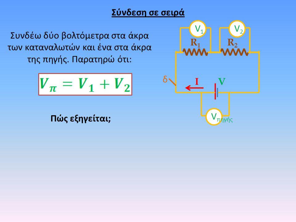 Σύνδεση σε σειρά δ R1R1 R2R2 VΙ Συνδέω δύο βολτόμετρα στα άκρα των καταναλωτών και ένα στα άκρα της πηγής. Παρατηρώ ότι: Πώς εξηγείται; V πηγής V1V1 V