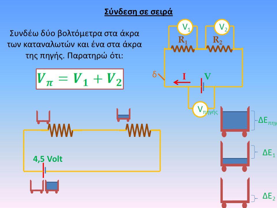 Σύνδεση σε σειρά δ R1R1 R2R2 VΙ Συνδέω δύο βολτόμετρα στα άκρα των καταναλωτών και ένα στα άκρα της πηγής. Παρατηρώ ότι: V πηγής V1V1 V2V2 4,5 Volt ΔΕ