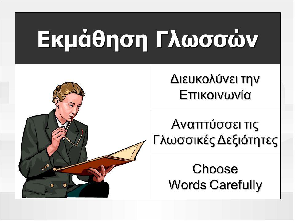 Εκμάθηση Γλωσσών Διευκολύνει την Επικοινωνία Αναπτύσσει τις Γλωσσικές Δεξιότητες Choose Words Carefully