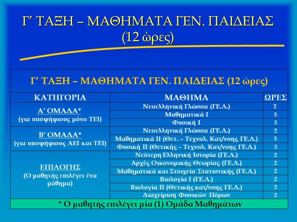 Γ' ΤΑΞΗ – ΜΑΘΗΜΑΤΑ ΓΕΝ. ΠΑΙΔΕΙΑΣ (12 ώρες) ΚΑΤΗΓΟΡΙΑΜΑΘΗΜΑΩΡΕΣ Α' ΟΜΑΔΑ* (για υποψήφιους μόνο ΤΕΙ) Νεοελληνική Γλώσσα (ΓΕ.Λ.) 2 Μαθηματικά Ι 5 Φυσική