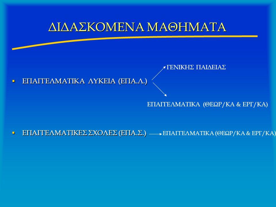 ΔΙΔΑΣΚΟΜΕΝΑ ΜΑΘΗΜΑΤΑ  ΕΠΑΓΓΕΛΜΑΤΙΚΑ ΛΥΚΕΙΑ (ΕΠΑ.Λ.)  ΕΠΑΓΓΕΛΜΑΤΙΚΕΣ ΣΧΟΛΕΣ (ΕΠΑ.Σ.) ΓΕΝΙΚΗΣ ΠΑΙΔΕΙΑΣ ΕΠΑΓΓΕΛΜΑΤΙΚΑ (ΘΕΩΡ/ΚΑ & ΕΡΓ/ΚΑ)
