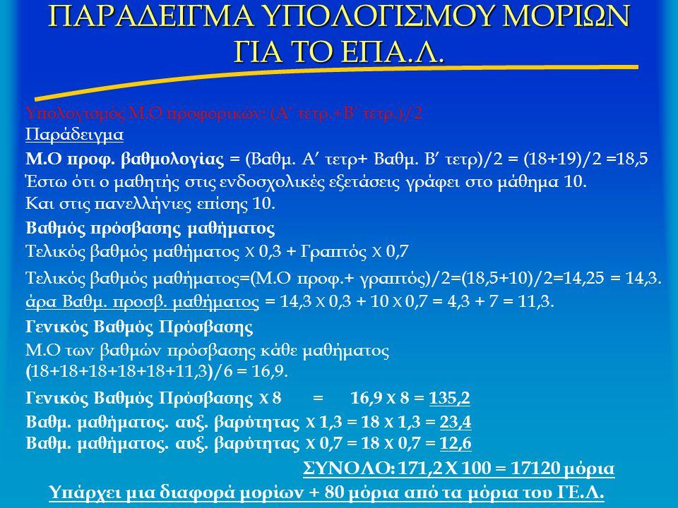 ΠΑΡΑΔΕΙΓΜΑ ΥΠΟΛΟΓΙΣΜΟΥ ΜΟΡΙΩΝ ΓΙΑ ΤΟ ΕΠΑ.Λ. Υπολογισμός Μ.Ο προφορικών: (Α' τετρ.+Β' τετρ.)/2 Παράδειγμα Μ.Ο προφ. βαθμολογίας = (Βαθμ. Α' τετρ+ Βαθμ.
