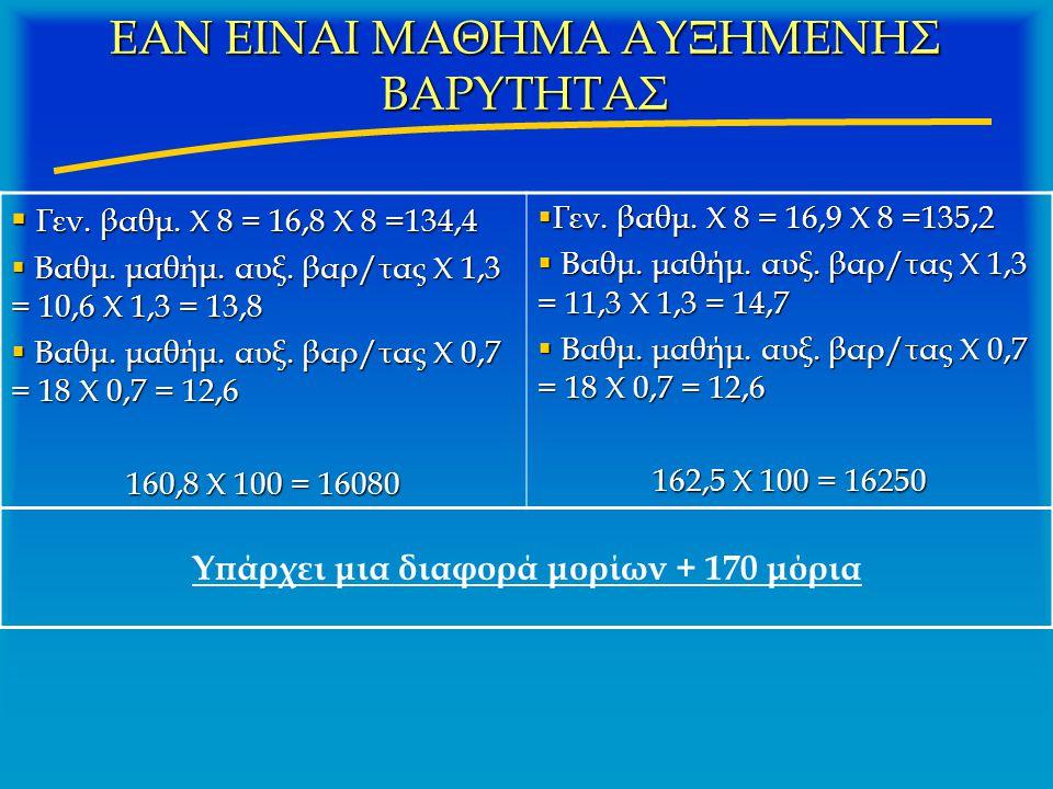 ΕΑΝ ΕΙΝΑΙ ΜΑΘΗΜΑ ΑΥΞΗΜΕΝΗΣ ΒΑΡΥΤΗΤΑΣ  Γεν. βαθμ. Χ 8 = 16,8 Χ 8 =134,4  Βαθμ. μαθήμ. αυξ. βαρ/τας Χ 1,3 = 10,6 Χ 1,3 = 13,8  Βαθμ. μαθήμ. αυξ. βαρ/