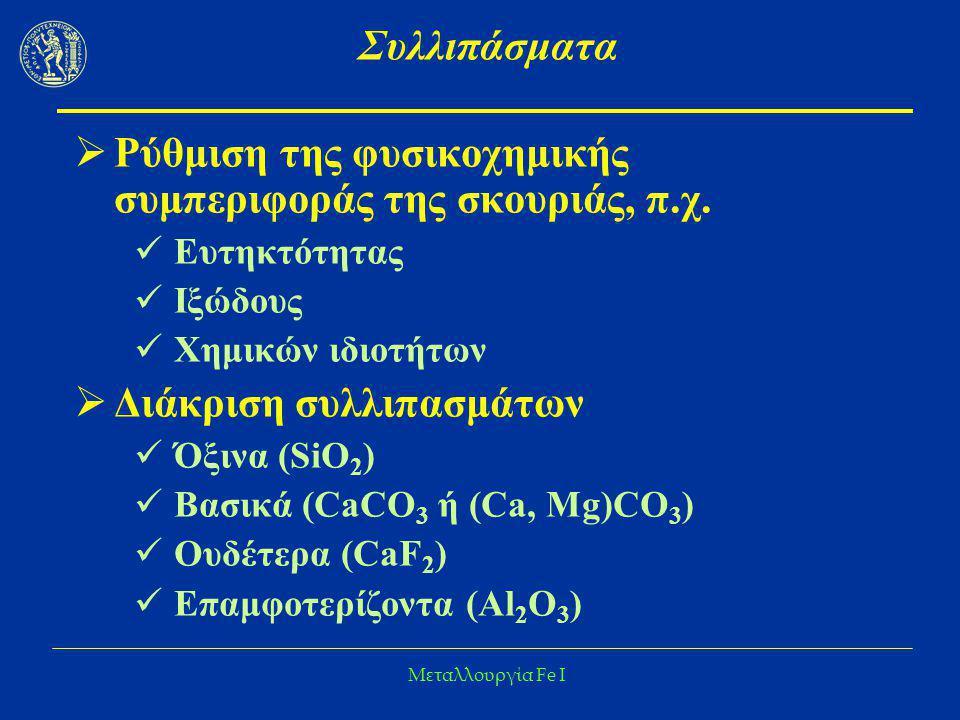 Μεταλλουργία Fe I Συλλιπάσματα  Ρύθμιση της φυσικοχημικής συμπεριφοράς της σκουριάς, π.χ. Ευτηκτότητας Ιξώδους Χημικών ιδιοτήτων  Διάκριση συλλιπασμ