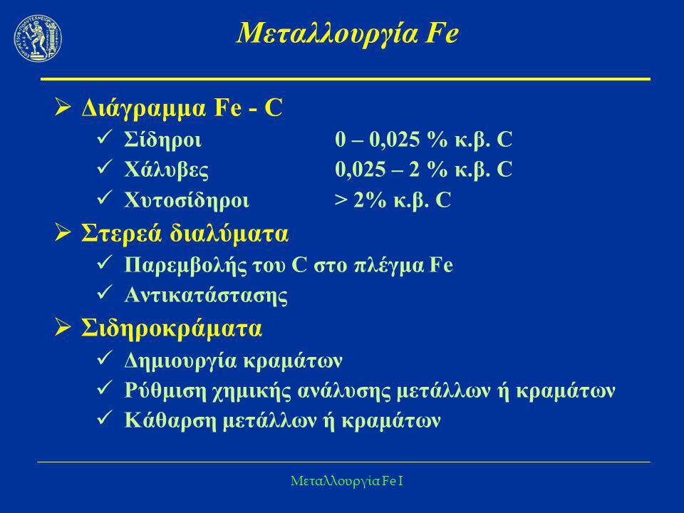 Μεταλλουργία Fe I Μεταλλουργία Fe  Διάγραμμα Fe - C Σίδηροι 0 – 0,025 % κ.β. C Χάλυβες0,025 – 2 % κ.β. C Χυτοσίδηροι> 2% κ.β. C  Στερεά διαλύματα Πα