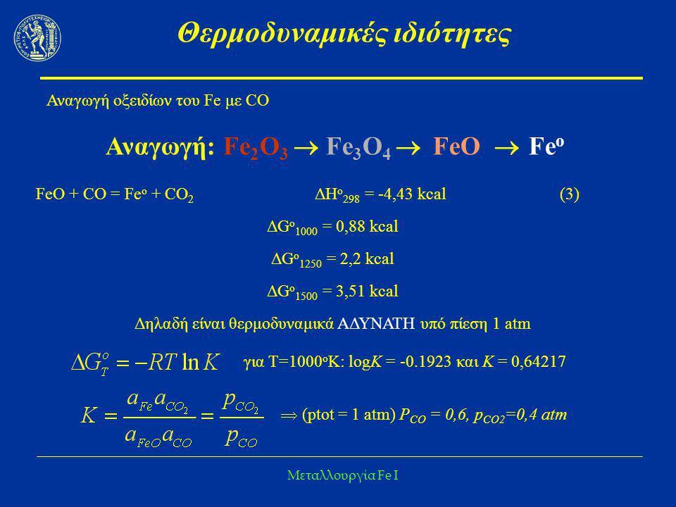 Μεταλλουργία Fe I Θερμοδυναμικές ιδιότητες Αναγωγή οξειδίων του Fe με CO Αναγωγή: Fe 2 O 3  Fe 3 O 4  FeO  Fe ο FeO + CO = Fe o + CO 2 ΔΗ ο 298 = -
