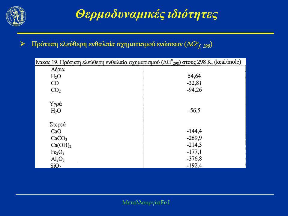 Μεταλλουργία Fe I Θερμοδυναμικές ιδιότητες  Πρότυπη ελεύθερη ενθαλπία σχηματισμού ενώσεων (ΔG o f, 298 )