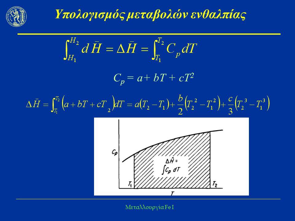 Μεταλλουργία Fe I Υπολογισμός μεταβολών ενθαλπίας C p = a+ bΤ + cT 2