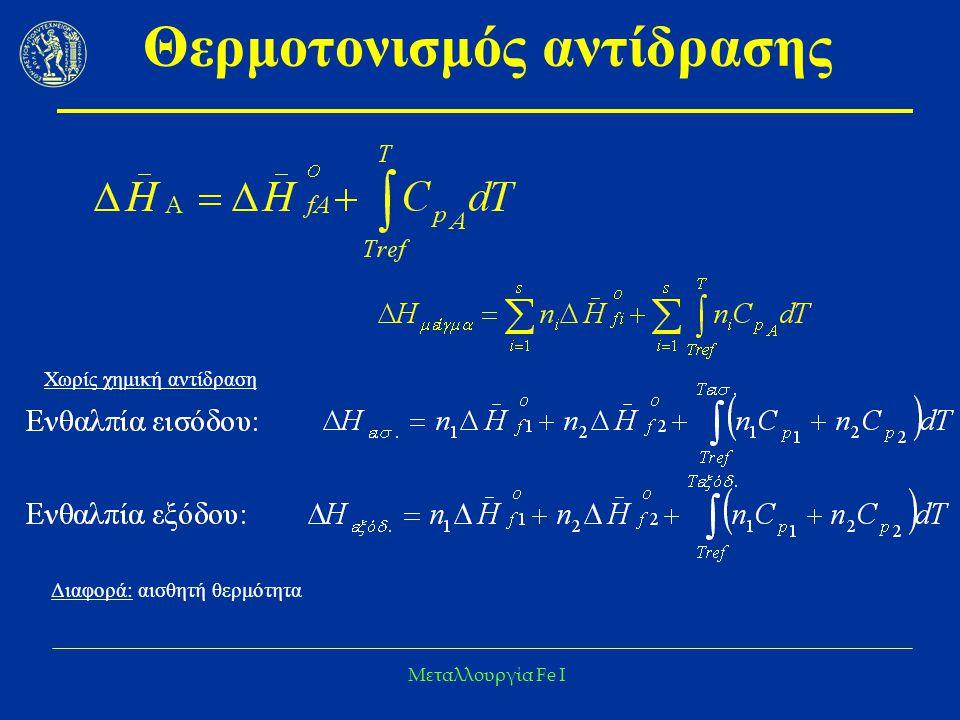 Μεταλλουργία Fe I Θερμοτονισμός αντίδρασης Χωρίς χημική αντίδραση Διαφορά: αισθητή θερμότητα