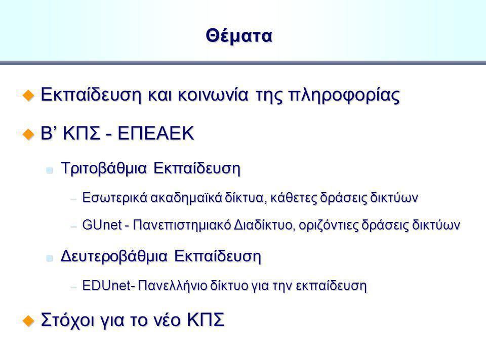 Δικτυακές Yποδομές και Yπηρεσίες στο Eλληνικό Σχολείο και Πανεπιστήμιο Καθ.