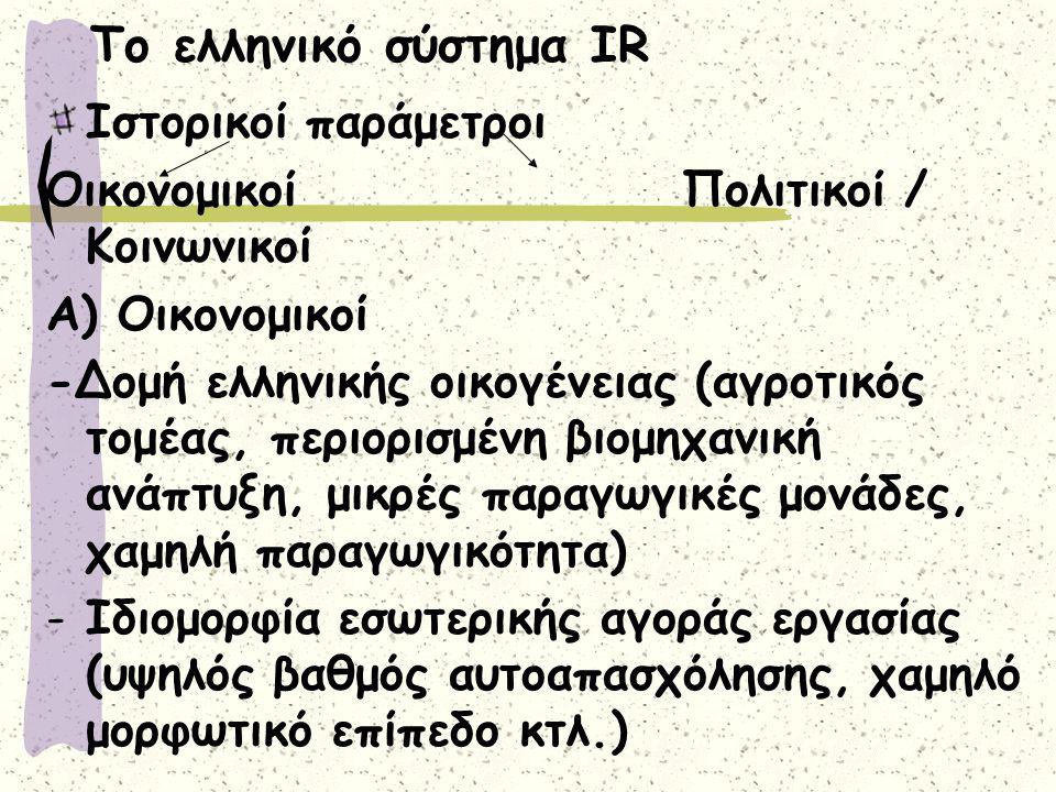 Το ελληνικό σύστημα IR Ιστορικοί παράμετροι Οικονομικοί Πολιτικοί / Κοινωνικοί Α) Οικονομικοί -Δομή ελληνικής οικογένειας (αγροτικός τομέας, περιορισμένη βιομηχανική ανάπτυξη, μικρές παραγωγικές μονάδες, χαμηλή παραγωγικότητα) -Ιδιομορφία εσωτερικής αγοράς εργασίας (υψηλός βαθμός αυτοαπασχόλησης, χαμηλό μορφωτικό επίπεδο κτλ.)