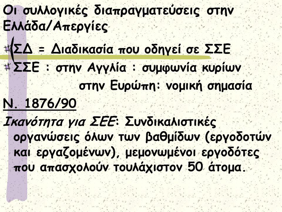 Οι συλλογικές διαπραγματεύσεις στην Ελλάδα/Απεργίες ΣΔ = Διαδικασία που οδηγεί σε ΣΣΕ ΣΣΕ : στην Αγγλία : συμφωνία κυρίων στην Ευρώπη: νομική σημασία Ν.