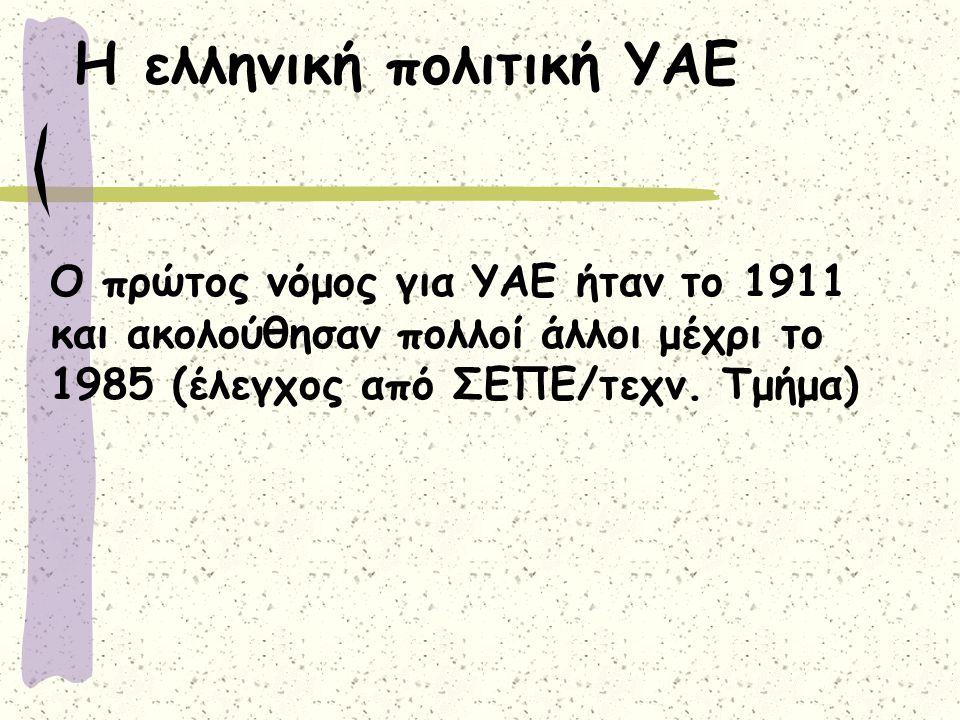 Η ελληνική πολιτική ΥΑΕ Ο πρώτος νόμος για ΥΑΕ ήταν το 1911 και ακολούθησαν πολλοί άλλοι μέχρι το 1985 (έλεγχος από ΣΕΠΕ/τεχν.