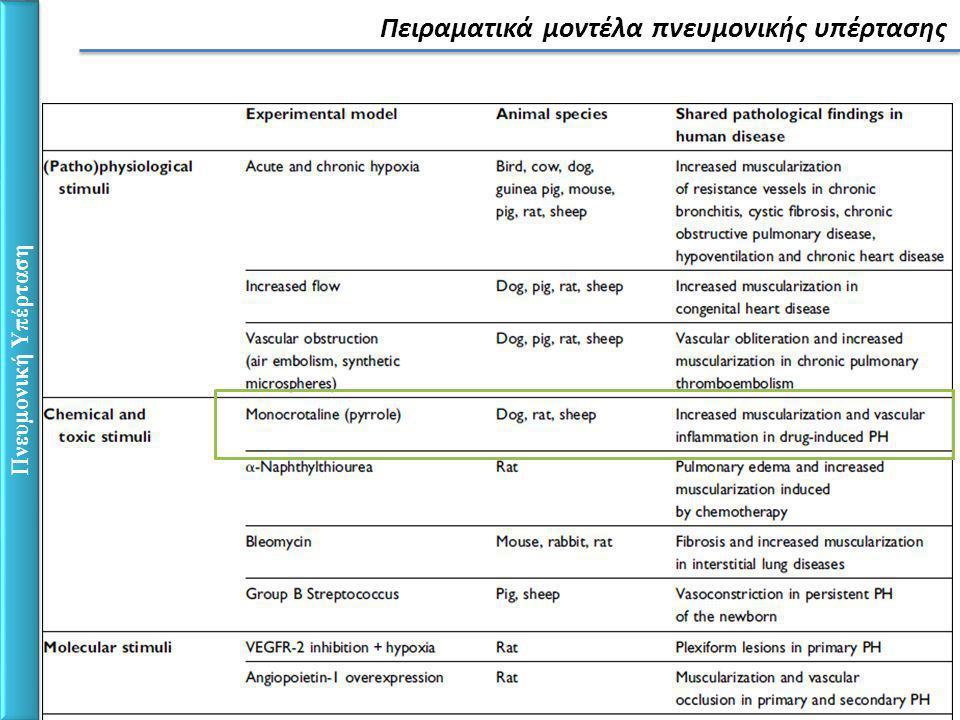 Πνευμονική Υπέρταση Πειραματικά μοντέλα πνευμονικής υπέρτασης