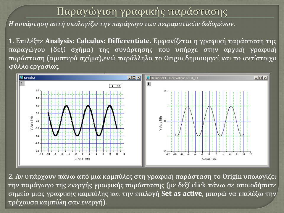 Παραγώγιση γραφικής παράστασης Η συνάρτηση αυτή υπολογίζει την παράγωγο των πειραματικών δεδομένων. 1. Επιλέξτε Analysis: Calculus: Differentiate. Εμφ