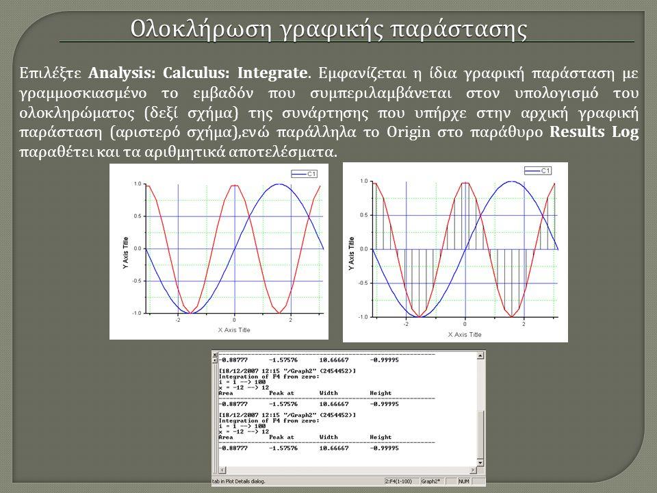 Ολοκλήρωση γραφικής παράστασης Επιλέξτε Analysis: Calculus: Integrate. Εμφανίζεται η ίδια γραφική παράσταση με γραμμοσκιασμένο το εμβαδόν που συμπεριλ