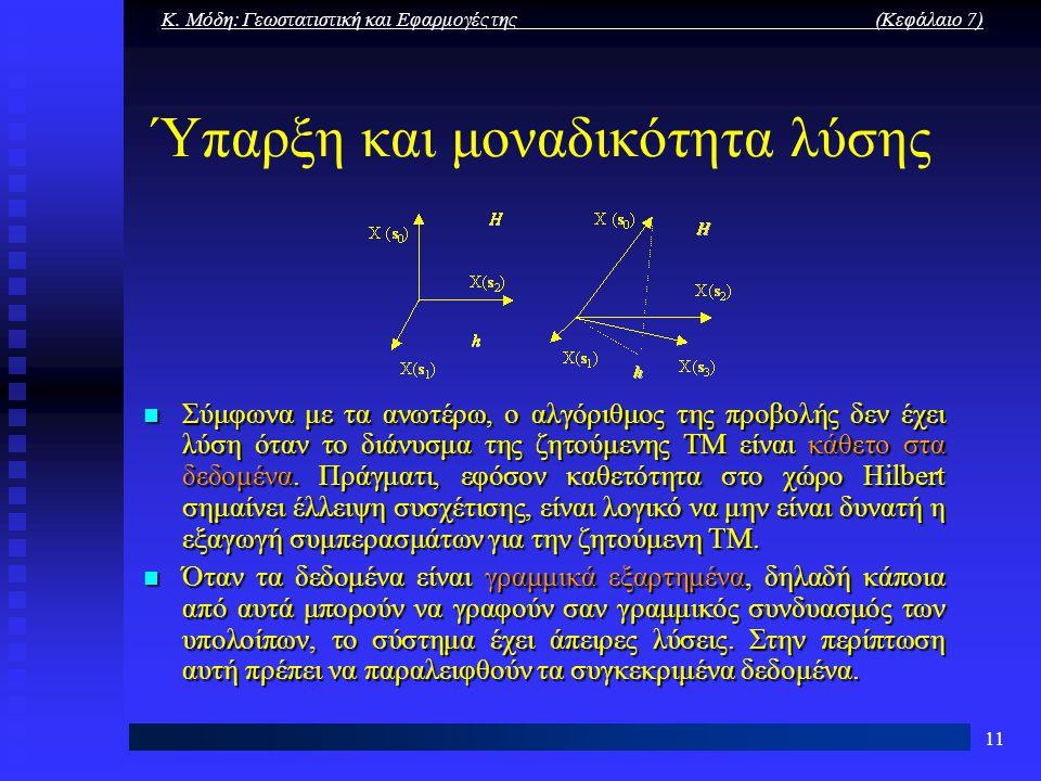 Κ. Μόδη: Γεωστατιστική και Εφαρμογές της (Κεφάλαιο 7) 11 Ύπαρξη και μοναδικότητα λύσης Σύμφωνα με τα ανωτέρω, ο αλγόριθμος της προβολής δεν έχει λύση