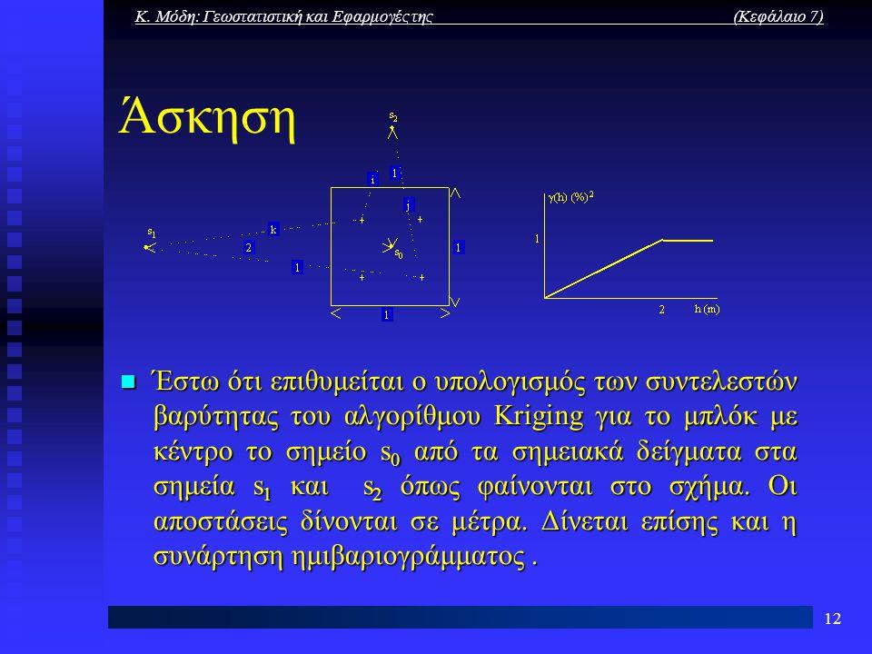 Κ. Μόδη: Γεωστατιστική και Εφαρμογές της (Κεφάλαιο 7) 12 Άσκηση Έστω ότι επιθυμείται ο υπολογισμός των συντελεστών βαρύτητας του αλγορίθμου Kriging γι