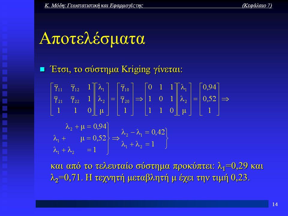 Κ. Μόδη: Γεωστατιστική και Εφαρμογές της (Κεφάλαιο 7) 14 Αποτελέσματα Έτσι, το σύστημα Kriging γίνεται: Έτσι, το σύστημα Kriging γίνεται: και από το τ